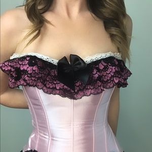 Pink  satin, black lace corset with garters